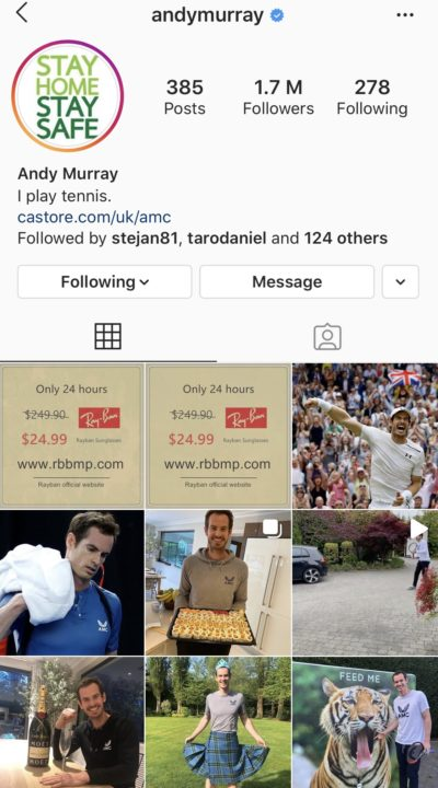 A scam company invades Andy Murray tennis star's instagram account